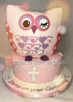 Owl Christening Cake - Cake by Helen Campbell