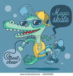 Find Magic Skater Crocodile stock images in HD and millions of other royalty-free stock photos, illustrations and vectors in the Shutterstock collection. Thousands of new, high-quality pictures added every day. Crocodile, Vector Art, Royalty Free Stock Photos, Magic, Illustration, Pictures, Animals, Fictional Characters, Design