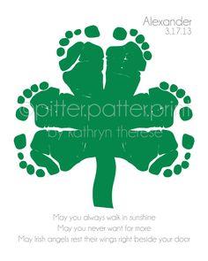 St Patricks Day Baby Footprint Shamrock by PitterPatterPrint