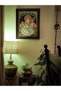 Indira's keep getting drawn to the traditional decor styles in southern Tamilnadu - whether it's Tanjore / Chettinad - all of it - the tanjore paintings, brick cladding, brass, natural granite, rose wood etc is also very visible in her decor. | Home Tour: A beautiful Antique Modern home in Bangalore ~ The Keybunch Decor Blog Makes You Beautiful, Beautiful Homes, Brick Cladding, Vintage Trunks, Tanjore Painting, Stone Flooring, Traditional Decor, Decorating Blogs, House Tours