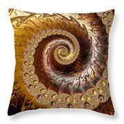 Golden And Brown Fractal Spiral Throw Pillow