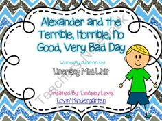 """Alexander and the Terrible, Horrible, No Good, Very Bad Day Literacy Mini Unit from Mrs. Lindsey on TeachersNotebook.com -  (30 pages)  - Literacy activities to compliment the book """"Alexander and the Terrible, Horrible, No Good, Very Bad Day""""."""