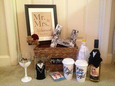 """""""Mr. and Mrs."""" Bridal / Bachelorette DIY Gift Basket"""