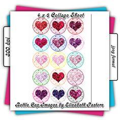 Foil Hearts Printable Bottle Cap Images by ClipArtByElizabeth, $2.50