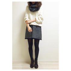 yokokeco雨降りコーデ ・ knit #kobelettuce skirt nobland shoes #amiami #アミアミ snood…