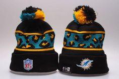 26411936b Men s   Women s Miami Dolphins New Era NFL Black Polar Prints Cuffed Knit  Pom Pom Beanie Hat