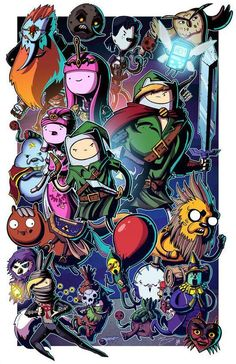 Mike Vasquez was kind enough to ask me to color his AMAZING lineart for this awesome Adventure Time/Legend of Zelda crossover print! Ocarina of Adventure Time - Collab w Mike Vasquez Adventure Time Anime, Adventure Time Crossover, Adventure Time Wallpaper, Adventure Time Characters, The Legend Of Zelda, Cartoon Network, Geeks, Adventure Time Personajes, Adveture Time