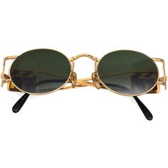 Vintage JEAN PAUL GAULTIER Bust Stained Glass Sunglasses ($650) ❤ liked on Polyvore featuring accessories, eyewear, sunglasses, glasses, jean-paul gaultier, jean paul gaultier glasses, gold glasses, lens glasses and jean paul gaultier sunglasses