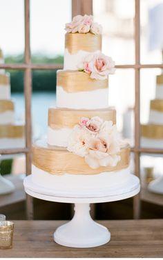 gold gilded wedding cake