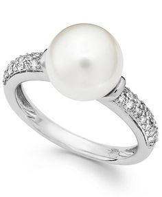 Cultured Freshwater Pearl (9-1/2mm) and Diamond Accent Ring in 14k White Gold