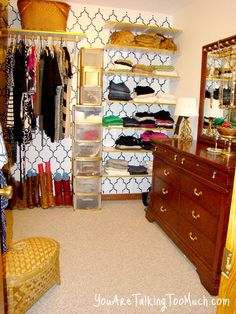 Walk-in Closet Organizing idea for less. Except for a dresser put in a little vanity.my closet has a vent! Organizing Walk In Closet, Closet Organization, Dressing Room Closet, Dressing Rooms, Organization Station, Organization Ideas, Closet Space, Getting Organized, Diy Home Decor