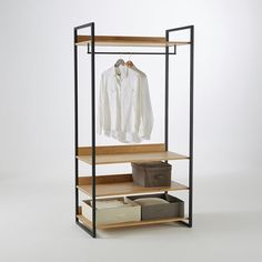 Image Hiba Large Clothes Rail and Shelving Unit in Solid Pine La Redoute…