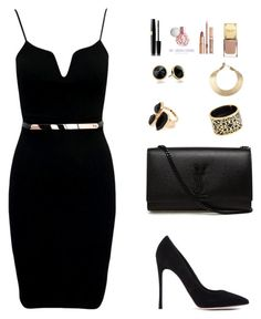 """black :)"" by h-asanovic ❤ liked on Polyvore featuring Gianvito Rossi, Yves Saint Laurent, River Island, Miriam Salat, Trina Turk and Kelly Wearstler"