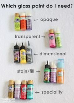 guide to the types of glass paints and the look they will give you on glass. Easy, basic tips here to paint glass.Comprehensive guide to the types of glass paints and the look they will give you on glass. Easy, basic tips here to paint glass. Wine Glass Crafts, Wine Craft, Wine Bottle Crafts, Jar Crafts, Bottle Art, Bottle Painting, Pebeo Porcelaine, Faux Stained Glass, Stained Glass Crafts