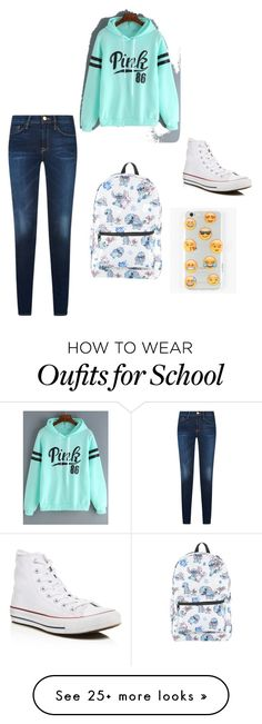 """""""Lazy and chic school outfit"""" by katayoun2819 on Polyvore featuring Disney, Ankit and Converse"""