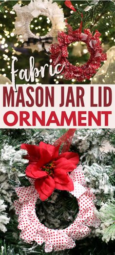 These DIY fabric mason jar lid ornaments are so easy to make and are a great way to use up scrap fabric and repurpose old mason jar lid rings. Diy Christmas Ornaments, Handmade Christmas, Diy Christmas Mason Jar Gifts, Christmas Ideas, Christmas Decorations, Jar Lid Crafts, Mason Jar Crafts, Craft Activities For Kids, Crafts For Kids