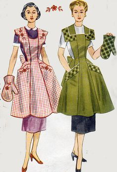 1950s Simplicity 4092 Bib Apron with Oven Mitt 50s by sandritocat, $26.00
