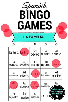 40 bingo cards (printed 2 per page) to practice 30 Spanish family vocabulary words to go along with your Spanish 1 unit. Includes word list. Students will LOVE this! Have a student look at the list of Spanish vocabulary words, think of the English meaning and call out while students look for the Spanish interpretation. Great for reinforcing vocabulary throughout the lesson, test review or substitute plans.