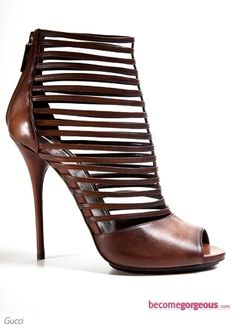 Gucci Dark Brown Inga Strappy Leather Ankle Boots