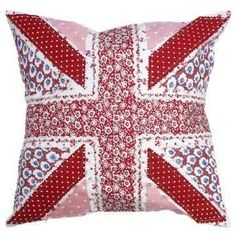 Red Patchwork Union Jack England Flag Pillow Cushion Cover