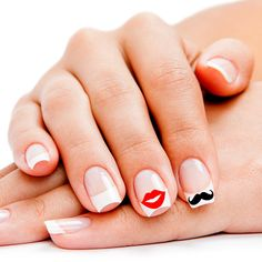 Lips and Mustache Nail Art Decals Stickers Appliques for Fingernails (27 Color Choices) by TipsyGLOWs #nails #nailart