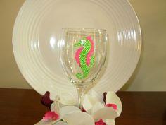 Seahorse Wine Glass Handpainted Nautical Wine Glass by Kathy1910