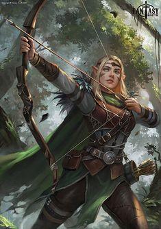 Fantasy North: Aelwyn Alorr, Wood Elf Ranger by Innervalue on DeviantArt Fantasy Warrior, Fantasy Girl, Elf Warrior, Final Fantasy Art, Dark Fantasy Art, Fantasy Artwork, Warrior Angel, Fantasy Princess, Celtic Fantasy Art