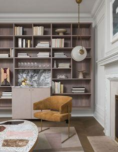 project .r003 - Ashley Botten Design | Interior Architects + Designers | Toronto Ashley Botten Design Interior Work, Luxury Interior, Interior Design, Library Bar, Toronto Library, Photo Library, Pink Sofa, Upholstered Sofa, Modular Sofa