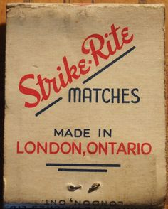 Strike-Rite Matches - London, Ontario front-striker #matchbook To order your business' own branded #matchbooks call TheMatchGroup @ 800.605.7331 or go to www.GetMatches.com today!