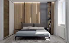 Parete in legno per la camera da letto 02
