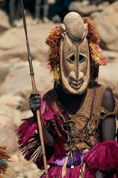 Africa   Masquerader wearing a Fulani herdsman mask (traditionally the enemy of the Dogon's). Dogon country, Mali   ©Michel Renaudeau