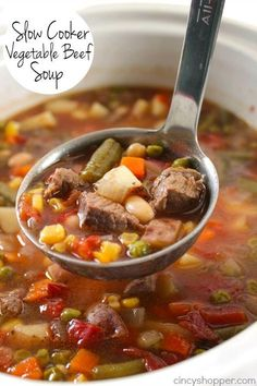 Best soup I have ever made. Cooked on stove, added cabbage and used kidney beans instead. Oh so good. Slow Cooker Vegetable Beef Soup - loaded with lots of vegetables, beef and tons of flavor! Perfect fall and winter soup made right in your Crock-Pot.