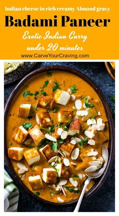 Badami Paneer curry is a rich & creamy North Indian curry made with Indian cottage cheese in Almond Gravy ( sauce) . A high protein paneer recipe that is easy to make. So rich and creamy that you will go for second! Indian Paneer Recipes, North Indian Recipes, Indian Food Recipes, Paneer Curry Recipes, Mexican Recipes, Easy Delicious Dinner Recipes, Vegetarian Recipes Dinner, Indian Curry Vegetarian, Indian Cheese