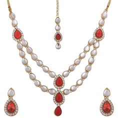Indian Bollywood Gold Plated Kundan Red Stone Traditional Jewelry Necklace Set #natural_gems15