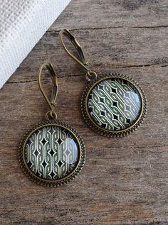 Green geometric earrings, Green earrings, Retro geometric jewelry, Classical pattern earrings, Green jewelry, Glass dome earrings