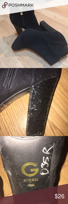 Guess ankle boots In excellent condition. Black suede with a sparkly heel G by Guess Shoes Ankle Boots & Booties