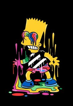 Fondos de Pantalla Para Celular - Bart - Trippin', The Simpsons - Wallpaper World Cartoon Cartoon, Dope Cartoon Art, Dope Cartoons, Cartoon Kunst, Trippy Cartoon, Simpson Wallpaper Iphone, Cartoon Wallpaper Iphone, Trippy Wallpaper, Sad Wallpaper