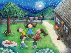 Dancing in the Moonlight Illustration print by Monica Johnson