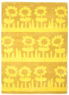 Summer meadow / Blomsteräng Handtufted - Gelb Teppich 140x200 > 160,-
