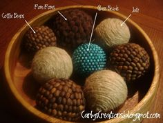 Twine and Coffee Bean Decorative Balls