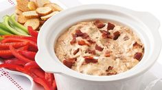 Slow-Cooker Bacon Cheeseburger Dip Turn the fantastic flavors of a favorite sandwich into a delicious dip. Slow cooker preparation is perfect for parties. Slow Cooker Dips, Slow Cooker Recipes, Crockpot Recipes, Pizza Ball, Dip Recipes, Appetizer Recipes, Appetizers, Potluck Recipes, Bacon Recipes