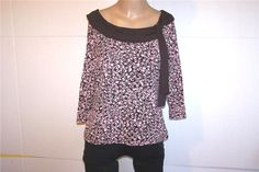 INC Shirt Top Sz L Stretchy Nylon Mesh 3/4 Sleeves Brown Pinks Tie Front Lined #INCInternationalConcepts #KnitTop #Casual