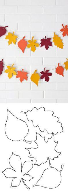 Moldes para hacer hojas de otoño en papel y fieltro Ideas de Manualidades