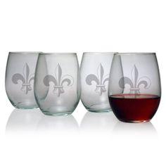 Susquehanna Glass Fleur De Lis 15-Ounce Stemless Wine Glass, Set of 4: Kitchen & Dining: Amazon.com