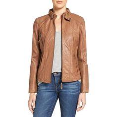 Women's Bernardo Zip Front Leather Biker Jacket ($260) ❤ liked on Polyvore featuring outerwear, jackets, petite, tobacco, moto biker jacket, leather motorcycle jacket, petite leather jacket, petite jackets and leather biker jackets