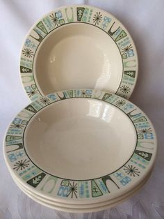 Taylorstone Cathay, Atomic era Dishes, Rimmed Soup Bowls, Mid Century Modern, Ceramic Dishware, Four Soup Bowls, Danish Modern Style, Retro