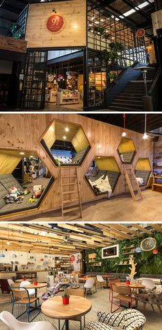 This Cafe And Bookstore Has Hexagon Shaped Hideaway Spaces - My Interior Design Ideas Design Commercial, Commercial Interiors, Deco Restaurant, Restaurant Design, Coffee Shop Design, Cafe Design, Bakery Shop Design, Book Cafe, Retail Design