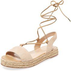 Alex + Alex Women's Lace-Up Espadrille Sandal - Cream/Tan - Size 10 (2 995 UAH) ❤ liked on Polyvore featuring shoes, sandals, braided sandals, lace up flat sandals, ankle tie flat sandals, lace up espadrilles and flat sandals