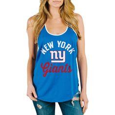 Junk Food New York Giants Women's Royal Goal Line 1-Hit Ringer Tank Top