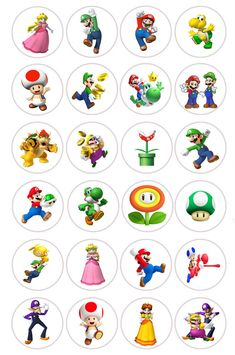 Mario Bros Fairy Cup Cake Toppers Edible Rice Paper Pre Cut in Crafts, Cake Decorating Super Mario Bros, Mario Bros Cake, Super Mario Birthday, Mario Birthday Party, Super Mario Party, Mario Kart, Mario E Luigi, Bolo Do Mario, Bolo Super Mario